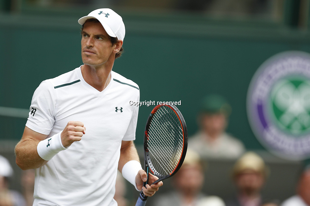 July 3rd 2017, All England Lawn Tennis and Croquet Club, London, England; The Wimbledon Tennis Championships, Day 1; Andy Murray of Great Britain reacts during the mens singles first round match with Alexander Bublik of Kazakhstan during Day 1