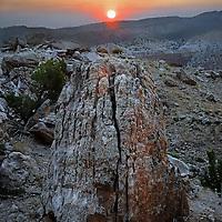 Sunrise over mountain terrain