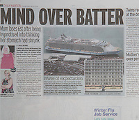 Royal Caribbean International's Oasis of the Seas Southampton visit cuttings.<br /> Daily Mirror 161014