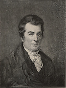 David Hosack (1769-1835), American physician and botanist. He established the Elgin Botanic Garden, New York, where the Rockefeller Centre now stands.  Engraving, 1896.
