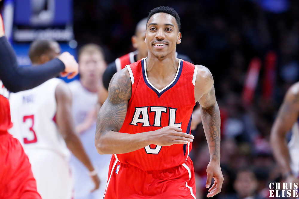 05 January 2014: Atlanta Hawks guard Jeff Teague (0) celebrates during the Atlanta Hawks 107-98 victory over the Los Angeles Clippers, at the Staples Center, Los Angeles, California, USA.