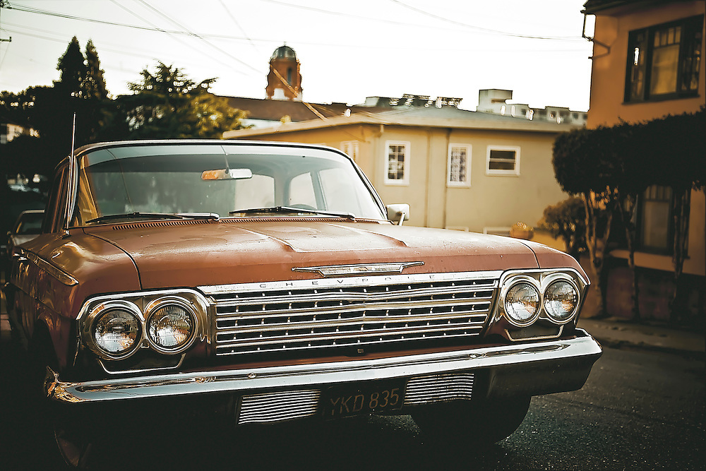 Classic Chevy on residential street in Oakland, CA.  Copyright 2008 Reid McNally.