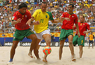 Football-FIFA Beach Soccer World Cup 2006 - Semi Finals, Brazil - Portugal, Beachsoccer World Cup 2006..Brasilian's Buru and Portugal's Jorge and Madjer.Rio de Janeiro - Brazil 11/11/2006. Mandatory credit: FIFA/ Manuel Queimadelos