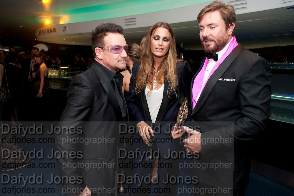 BONO; YASMINE LEBON; SIMON LEBON, GQ Men of the Year awards. The royal Opera House. Covent Garden. London. 6 September 2011. <br /> <br />  , -DO NOT ARCHIVE-© Copyright Photograph by Dafydd Jones. 248 Clapham Rd. London SW9 0PZ. Tel 0207 820 0771. www.dafjones.com.