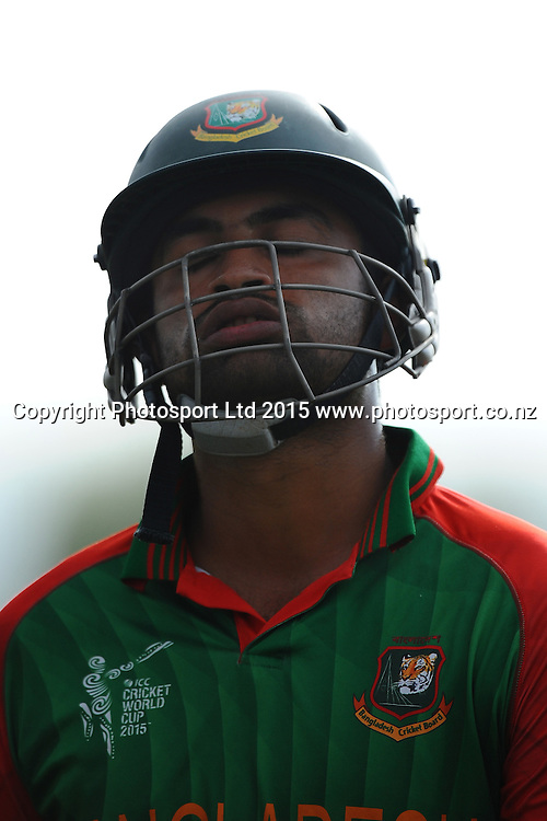 Tamin Iqbal from Bangladesh shows his disappointment at getting out for 95 runs during the 2015 ICC Cricket World Cup match between Bangladesh v Scotland. Saxton Oval, Nelson, New Zealand. Thursday 5 March 2015. Copyright Photo: Chris Symes / www.photosport.co.nz