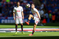 Ander Herrera of Manchester United warms up - Rogan Thomson/JMP - 07/08/2016 - FOOTBALL - Wembley Stadium - London, England - Leicester City v Manchester United - The FA Community Shield.