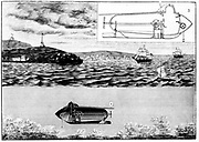 Robert Fulton, American inventor and engineer (1765-1815): His submarine Nautilus . 1)Travelling on surface:  2)Submerged. Fulton demonstrated the vessel on the Seine, May 1801. Boat powered manually. Engraving Paris 1901