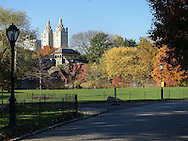 Autumn colors at Turtle Pond with a view of Belvedere Castle and the San Remo apartment towers.