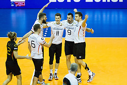 09.01.2016, Max Schmeling Halle, Berlin, GER, CEV Olympia Qualifikation, Deutschland vs Russland, im Bild Ferdinand Tille (#12, GER), Denys Kaliberda (#6, GER), Philipp Collin (#20, GER), Lukas Immanuel Kampa (#11, GER), Gyorgy Georg Grozer (#9, GER), und Christian Fromm (#1, GER) // during 2016 CEV Volleyball European Olympic Qualification Match between Germany and Russia at the Max Schmeling Halle in Berlin, Germany on 2016/01/09. EXPA Pictures © 2016, PhotoCredit: EXPA/ Eibner-Pressefoto/ Wuechner<br /> <br /> *****ATTENTION - OUT of GER*****