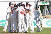 WICKET - Glamorgan celebrate wicket of Harry Swindells during the Specsavers County Champ Div 2 match between Glamorgan County Cricket Club and Leicestershire County Cricket Club at the SWALEC Stadium, Cardiff, United Kingdom on 19 September 2019.