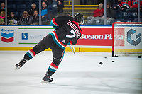 KELOWNA, CANADA - OCTOBER 4: Libor Zabransky #7 of the Kelowna Rockets shoots during warm up against the Victoria Royals on October 4, 2017 at Prospera Place in Kelowna, British Columbia, Canada.  (Photo by Marissa Baecker/Shoot the Breeze)  *** Local Caption ***