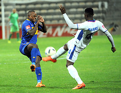 Cape Town 18-03-03 Cape Town City Ayanda Patosi  attacking as Chippa player Zitha Macheke defending  in the PSL Game In Athlone Staduim Pictures Ayanda Ndamane African news agency/ANA