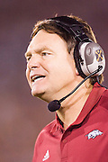Arkansas Razorback Head Coach Houston Nutt reacts to a call during a 70 to 17 loss to the University of Southern California Trojans on September 17, 2005 at the Los Angeles Memorial Coliseum in Los Angeles, California..Mandatory Credit: Wesley Hitt/Icon SMI