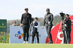 Oct 18, 2018-Jeju, South Korea-Jason Day and Adam Scott of Australia action on the 9th tee during the PGA Golf CJ Cup Nine Bridges Round 1 at Nine Bridges Golf Club in Jeju, South Korea.