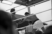 Ali vs Lewis Fight, Croke Park,Dublin..1972..19.07.1972..07.19.1972..19th July 1972..As part of his built up for a World Championship attempt against the current champion, 'Smokin' Joe Frazier,Muhammad Ali fought Al 'Blue' Lewis at Croke Park,Dublin,Ireland. Muhammad Ali won the fight with a TKO when the fight was stopped in the eleventh round...Image of Ali throwing what appears to be a low blow, the referee is pictured in the background.