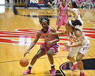 """Ole Miss' Courtney Marbra (25) vs. Georgia's Jasmine Hassell (12) in women's basketball at the C.M. """"Tad"""" Smith Coliseum in Oxford, Miss. on Sunday, February 24, 2013. Georgia won 73-54."""
