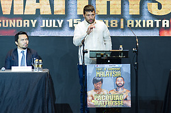 April 18, 2018 - Paranaque City, NCR, Philippines - Current WBA Welterweight Champion Lucas Matthysse gives his speech for the Pacquiao - Matthysse ''Fight of Champions'' to be held Axiata Arena in Kuala Lumpur, Malaysia on July 15, 2018 (Credit Image: © Noel Tonido/Pacific Press via ZUMA Wire)