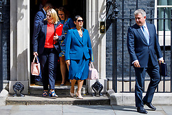 © Licensed to London News Pictures. 18/07/2017. London, UK. Culture Secretary KAREN BRADLEY and International Development Secretary PRITI PATEL leave after a cabinet meeting in Downing Street, London on Tuesday, 18 July 2017. Photo credit: Tolga Akmen/LNP
