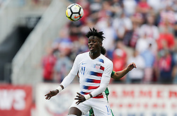 May 28, 2018 - Chester, PA, USA - Chester, PA - Monday May 28, 2018: Tim Weah during an international friendly match between the men's national teams of the United States (USA) and Bolivia (BOL) at Talen Energy Stadium. (Credit Image: © John Dorton/ISIPhotos via ZUMA Wire)