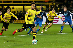 DORTMUND, Dec. 17, 2017  Pierre-Emerick Aubameyang (Front) of Dortmund kicks a penalty during the Bundesliga match between Borussia Dortmund and TSG 1899 Hoffenheim at Signal Iduna Park on December 16, 2017 in Dortmund, Germany. Dortmund won 2-1. (Credit Image: © Joachim Bywaletz/Xinhua via ZUMA Wire)