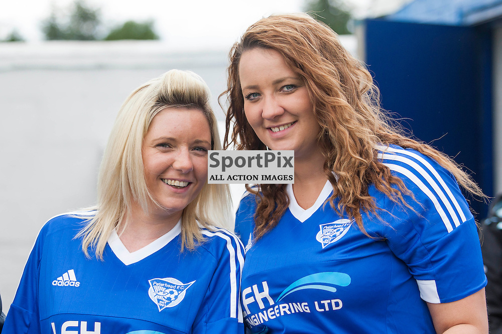 Nicola Cairns and Clare Warrander travelled the 6 hours to cheer on Peterhead in the Stranraer v Peterhead Ladbrokes SPFL Scottish Division 1 at Stair Park in Stranraer 15 August 2015<br /><br />&copy; Russell Gray Sneddon / StockPix.eu