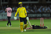 Ryan Stevenson of Hampshire is run out after a mix up with Fidel Edwards during the Vitality T20 Blast South Group match between Middlesex County Cricket Club and Hampshire County Cricket Club at Lord's Cricket Ground, St John's Wood, United Kingdom on 26 July 2018. Picture by Dave Vokes.