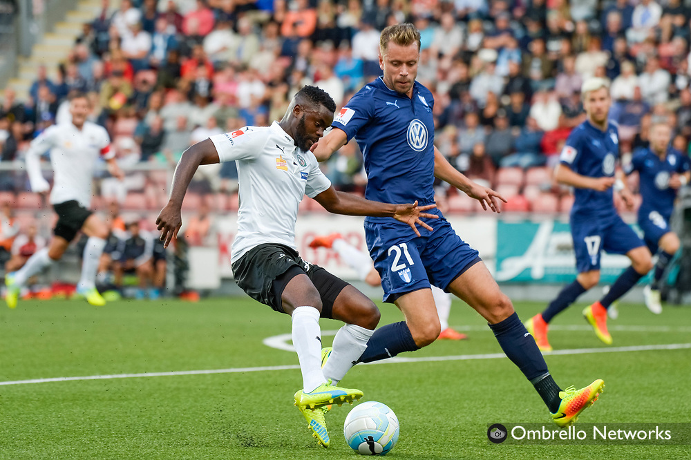ÖREBRO, SWEDEN - AUGUST 01: Maic Sema of Örebro SK  & Kari Arnason of Malmö FF during the allsvenskan match between Örebro SK and Malmö FF at Behrn Arena on August 1, 2016 in Örebro, Sweden. Foto: Pavel Koubek/Ombrello