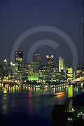 Pittsburgh, PA, Skyline, Night Lights, Three Rivers, The Point Park Fountain, Golden Triangle Skyscrapers