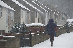 © Licensed to London News Pictures. 13/02/2013. Sheffield, Uk. A woman walks past Graves Park in Meadowhead, Sheffield in thick snow. There is more snow throughout Sheffield again today. Photo credit : David Mirzoeff/LNP