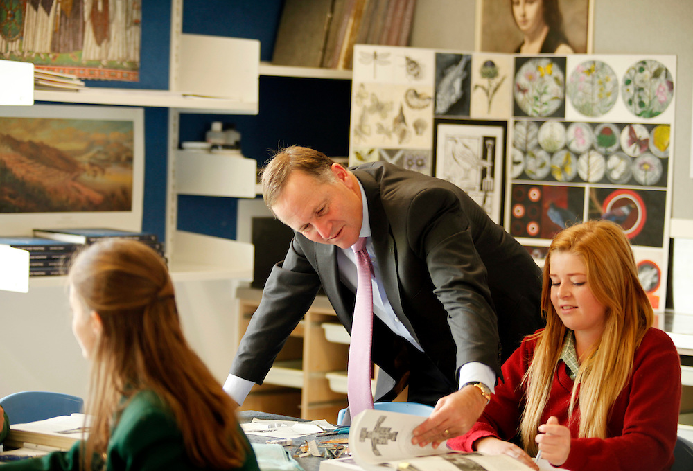 Prime Minister John Key visits Avonside Girl's High School art class, the school was closed due to earthquake damage and is now operating with new buildings and refurbished grounds and gardens, Christchurch, New Zealand, Thursday, February 16, 2012.  Credit:SNPA / Pam Johnson