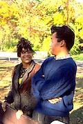 Korean exchange student age 16 talking to his host.  Minneapolis Minnesota USA