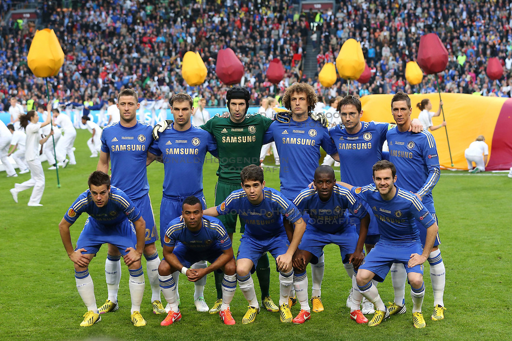 15-05-2013 VOETBAL: UEFA EL FINALE BENFICA - FC CHELSEA: AMSTERDAM<br /> Teamphoto Chelsea, GARY CAHILL BRANISLAV IVANOVIC PETR CECH  DAVID LUIZ  FRANK LAMPARD  FERNANDO TORRES  CESAR AZPILICUETA  ASHLEY COLE  OSCAR  RAMIRES  JUAN MATA<br /> ***NETHERLANDS ONLY***<br /> &copy;2013-FotoHoogendoorn.nl