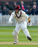 George Bartlett of Somerset during the Specsavers County Champ Div 1 match between Somerset County Cricket Club and Kent County Cricket Club at the Cooper Associates County Ground, Taunton, United Kingdom on 7 April 2019.