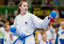 Tjasa Ristic of Slovenia (blue) fighting against Team of Serbia (red) during of Kumite Team female at Day Two of Karate 1 World Cup - Thermana Slovenia Lasko 2014 tournament, on March 16, 2014 in Arena Tri Lilije, Lasko, Slovenia.Photo by Vid Ponikvar / Sportida