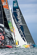 Puma, Sanya & Telefonica at the start of the in-port race at Volvo Ocean Race Miami