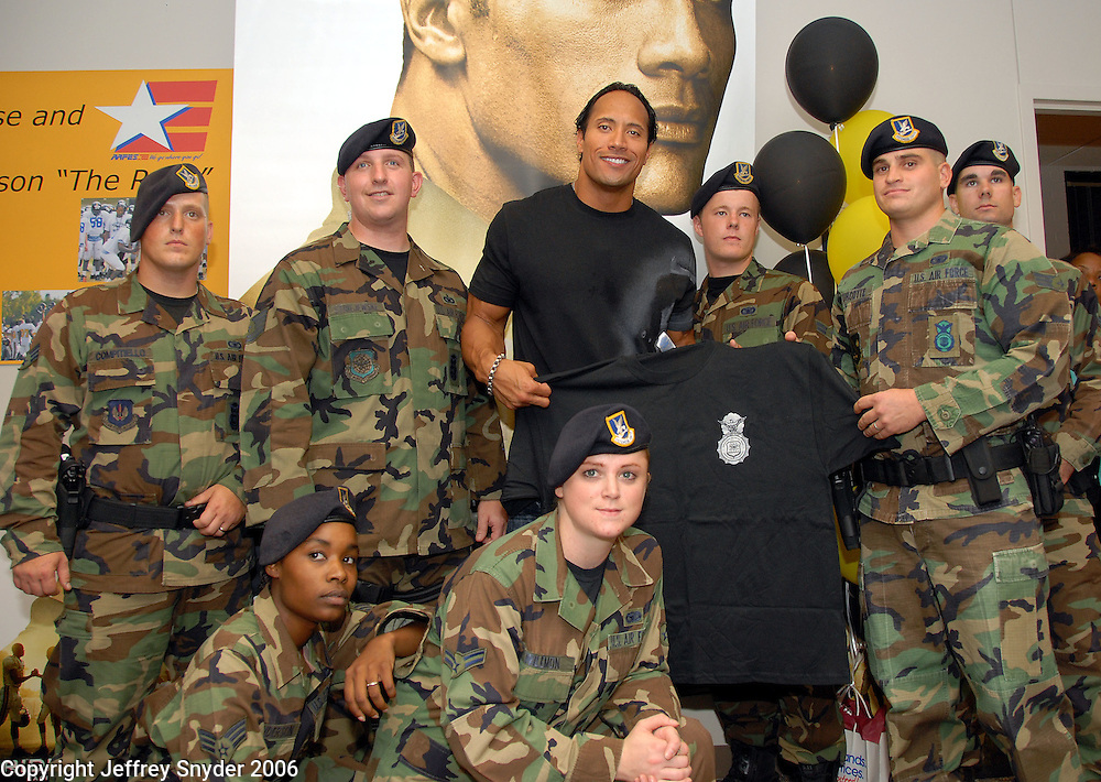 "Dwayne ""The Rock"" Johnson visited Andrews AFB, MD and spent time with some vets who had just returned from Iraq."