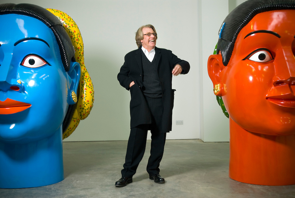 Art collector Frank Cohen (founder of Glyn Webb Home Improvement Stores) in his Gallery called Initial Access, just outside the Midlands town of Wolverhampton. The current exhibition consists of Chinese and Indian contemporary Art..
