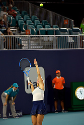 March 25, 2019 - Miami Gardens, Florida, United States Of America - MIAMI GARDENS, FLORIDA - MARCH 25: Karolina Pliskova of the Czech Republic defeatsYulia Putintseva of Kazakhstan during day 8 of the Miami Open presented by Itau at Hard Rock Stadium on March 25, 2019 in Miami Gardens, Florida...People: Yulia Putintseva. (Credit Image: © SMG via ZUMA Wire)