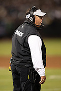 Oakland Raiders defensive coordinator Paul Guenther calls out from the sideline during the 2018 NFL preseason week 3 football game against the Green Bay Packers on Friday, Aug. 24, 2018 in Oakland, Calif. The Raiders won the game 13-6. (©Paul Anthony Spinelli)
