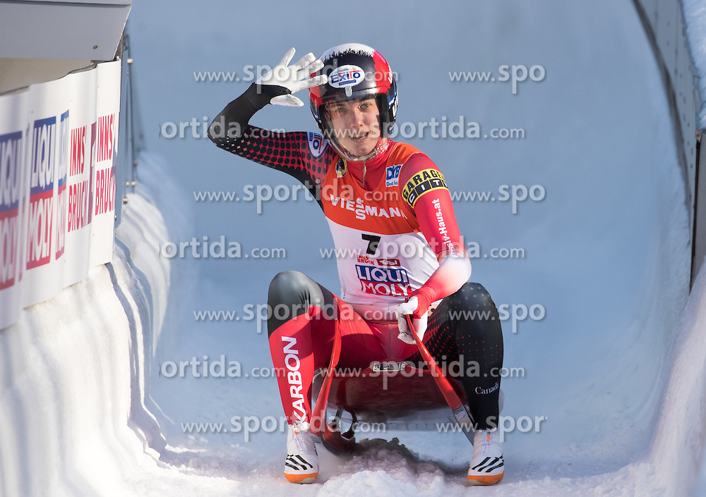 28.01.2017, Olympia Eisbahn, Igls, AUT, FIL Rennrodel WM 2017, Igls, Damen Einsitzer, 2. Lauf, im Bild Kimberley McRae (CAN, Bronzemedaille) // Bronze medalist Kimberley McRae of Canada reacts after her 2nd run of women's single seater competition of 2017 Luge World Championship at the Olympia Eisbahn in Igls, Austria on 2017/01/28. EXPA Pictures © 2017, PhotoCredit: EXPA/ Johann Groder