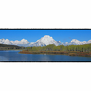 Grand Tetons - Oxbow Bend, WY - Panoramic - Custom Border