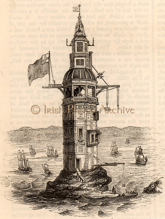Second Eddystone lighthouse built on the Stone 13 miles South-east of Polperro, Cornwall, England, which claimed up to 50 ships a year.  Built by the English engineer and engraver Henry Winstanley (1644-1703) in 1699, destroyed in a gale on 26 November 17