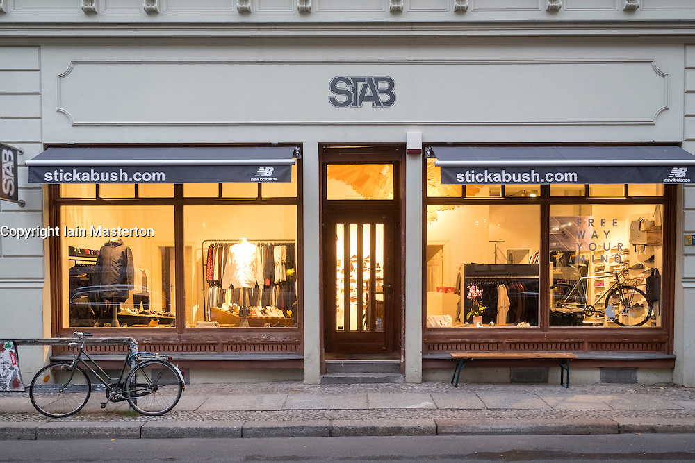 Exterior view of Stickabush clothing store on gentrified  Gipstrasse in Mitte Berlin Germany