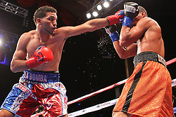 September 28, 2012; Ledyard, CT; USA; Images from the HBO Boxing after Dark main event between Edwin Rodriguez (white/red/blue trunks) and Jason Escalera (orange trunks) at the MGM Grand Theater at Foxwoods.