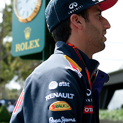 The familier profile of Daniel Ricciardo of Infiniti Red Bull Racing.<br /> Round 1 - opening day of the 2015 Formula 1 Rolex Australian Grand Prix at The circuit of Albert Park, Melbourne, Victoria on the 12th March 2015.<br /> Wayne Neal | SportPix.org.uk