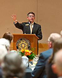 President Thomas Krise addressing and answering questions at the Golden Club Brunch in Mary Baker Russell for Homecoming 2014 at PLU on Sunday, Oct. 5, 2014. (PLU Photo/John Froschauer)