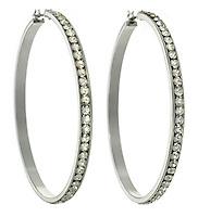 big silver and rhinestone hoop earrings