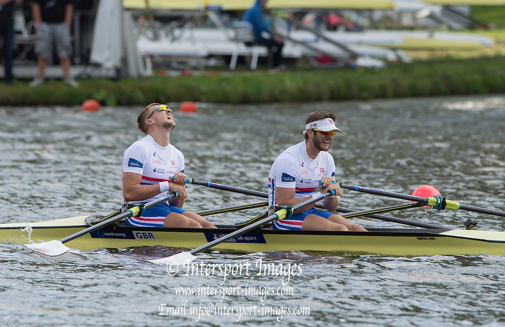 Amsterdam. NETHERLANDS. Semi Final A/B. Men's Double Sculls GBR M2X, Bow John COLLINS and Jonny WALTON.    De Bosbaan Rowing Course, venue for the 2014 FISA  World Rowing. Championships.  . 14:21:19  Friday  29/08/2014  [Mandatory Credit; Peter Spurrier/Intersport-images]