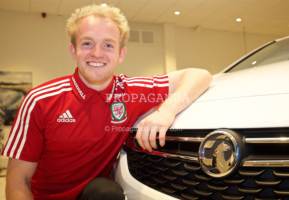 CARDIFF, WALES - Wednesday, November 11, 2015: Wales' Jonathan Williams at the Evans Halshaw Vaxhall dealership in Cardiff. (Pic by David Rawcliffe/Propaganda)