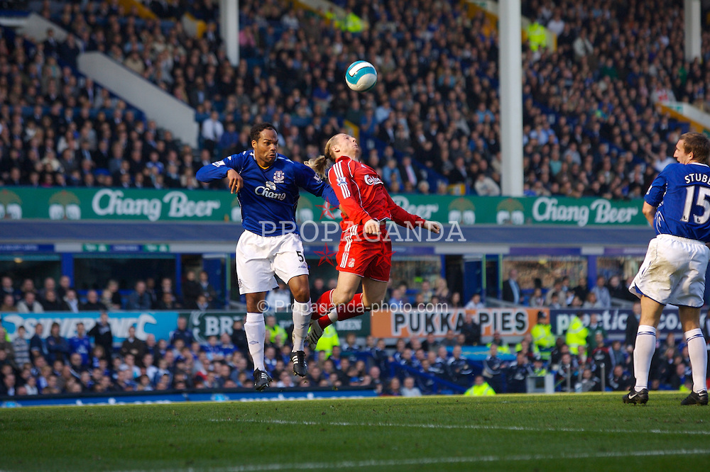 Liverpool, England - Saturday, October 20, 2007: Liverpool's Andriy Voronin and Everton's Joleon Lescott during the 206th Merseyside Derby match at Goodison Park. (Photo by David Rawcliffe/Propaganda)